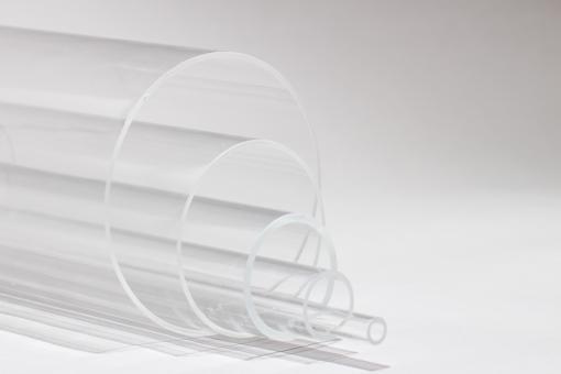 Acrylglas XT Rohr farblos, 1000 mm Länge ab AD 50 mm bis AD 90 mm