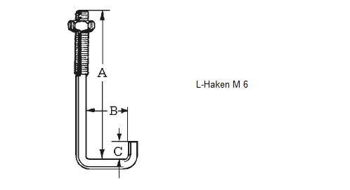 L-Haken für Profil 76/18 inkl. Mutter