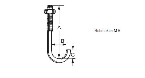 Rohrhaken für Profil 76/18 inkl. Mutter